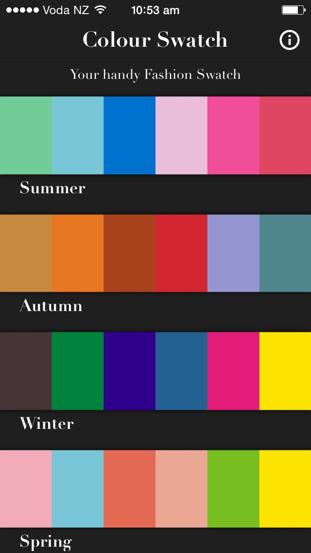 Personal Colour Swatch App - download your season today! Winter, Spring, Summer or Winter. Watch the video here:  https://www.youtube.com/watch?v=V9Ah1h6sUGs