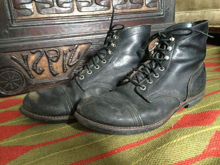 "Red Wing Iron Ranger 6"" Black Leather Cap Toe Boots Mens Size 9.5 9 1/2 D #RedWing #AnkleBoots"