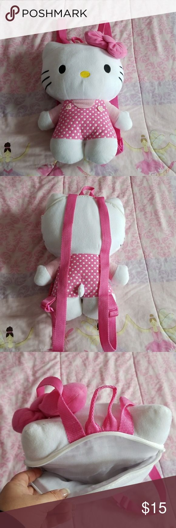 Hello Kitty backpack Small backpack in EXCELLENT condition. Small zip pocket in back for storage. Zipper works perfect! No rips or tears. Small stains can probably wash off. Hello Kitty Accessories Bags