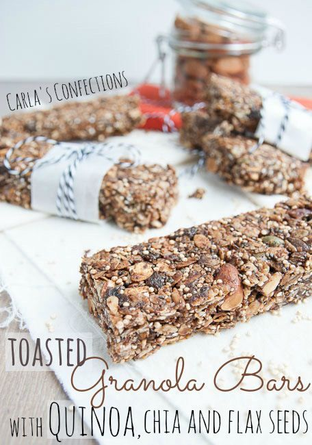 Quinoa, Chia & Flax seed Toasted Granola Bars - substitute peanut butter with Sunbutter.....