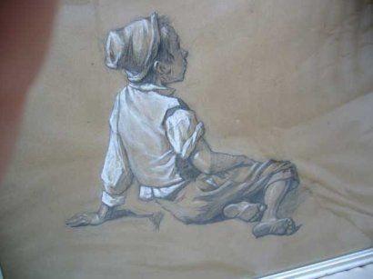 ECOLE ITALIENNE XIX ème Enfant assis, dessin crayon et rehauts de blanc, n