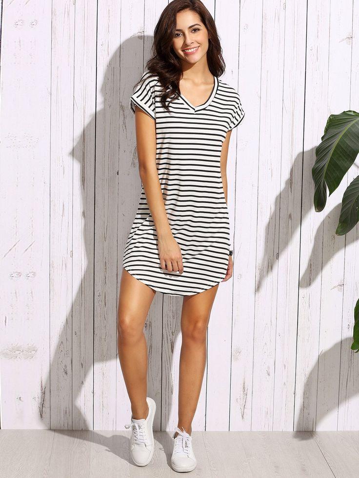 Black White Striped Drop Shoulder Tshirt Dress