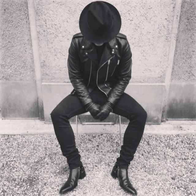 hat-leather jacket-skinny jeans and the boots!! #almostperfect