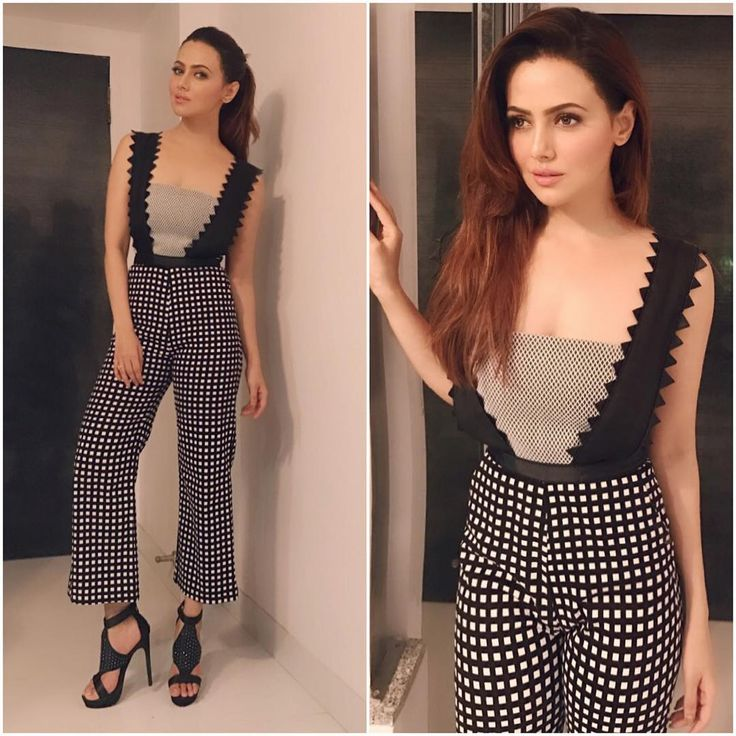 "Sana Khan Outfit - @dimple.amrin  Sandals - @stevemadden  #bollywood #style #fashion #beauty…"""