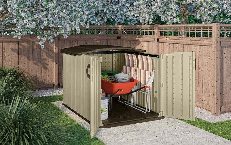 Garden Shed Suncast Storage Sheds Bike Glidetop Slide Lid Mower Yard Organizer #Suncast