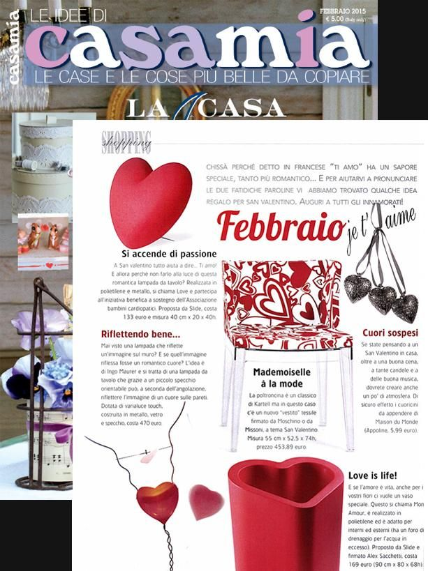 #ValentinesDay is near and the lamp #LOVE and #MONAMOUR pot featured in the magazine #LeIdeediCasamia #slidedesign