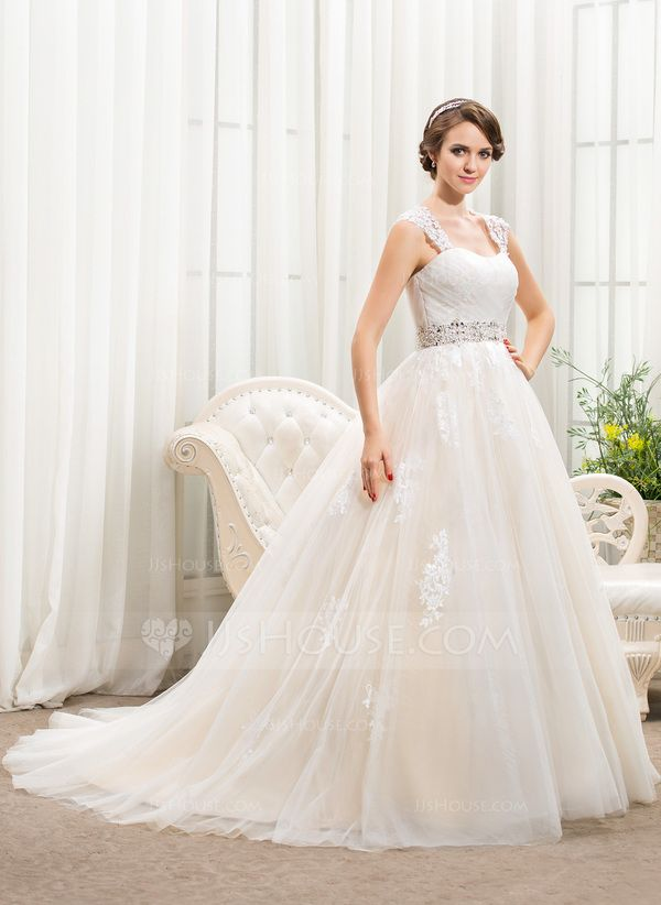 Ball Gown Sweetheart Chapel Train Tulle Wedding Dress With
