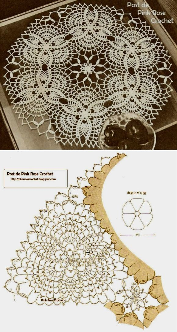PINK ROSE CROCHET: Pineapple Doily Centrinho Abacaxis
