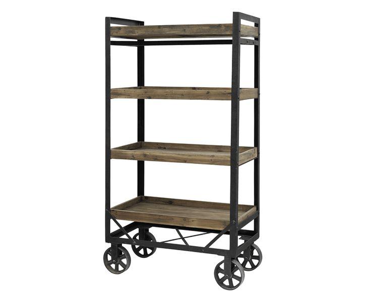 Hylla på hjul i industristil, 189 cm. Stomme av svart järn, fyra hyllplan av trä. Snygg och praktisk hylla för industri inredning.