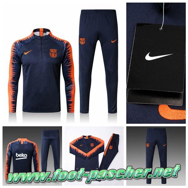 9e3cc765dfb2 Faibles Ventes Survetement Nike FC Barcelone Bleu Marine/Orange Ensemble  2017/2018