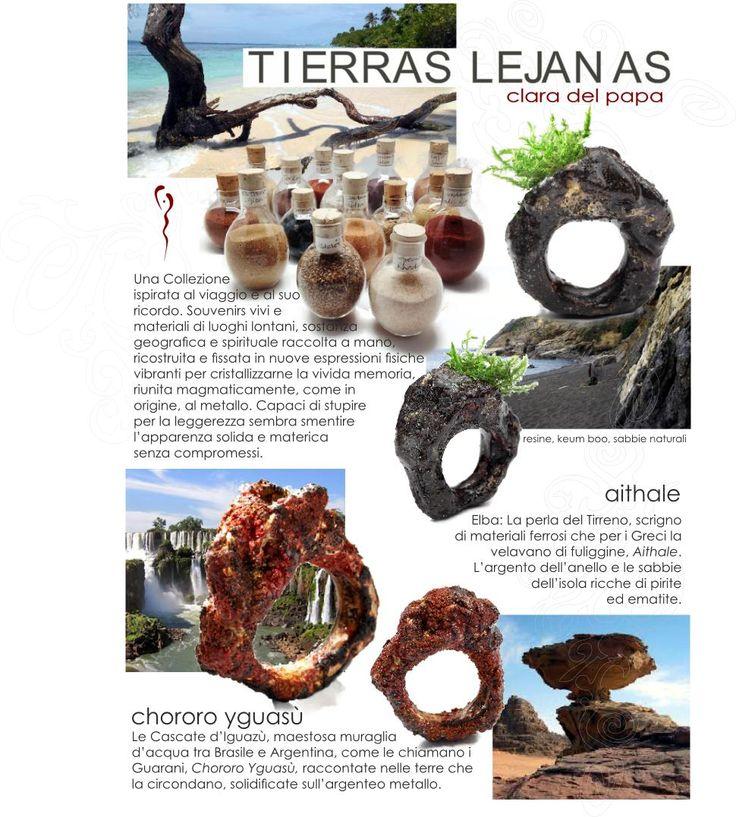 Clara Del Papa - 2012  Tierras Lejánas -arenas y tierras como recuerdos de viajes.  Sabbie e terre come souvenirs di viaggio...