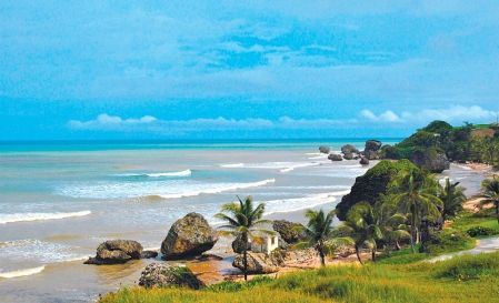 Vue sur la mer à Bathsheba. La côte est de la Barbade est un tout autre monde et n'a rien à voir avec la côte caribéenne, séparée des chics hôtels par des acres de champs de canne. <br />