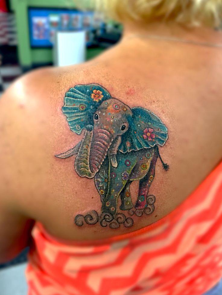 Watercolor elephant tattoo!!
