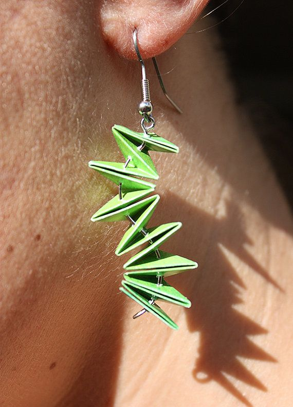 Unique Paper Earrings. Wavy ZigZag Design. Available in a range of colours including black & white, pink, blue and green. $20.00 each. Made by ThePaperer.