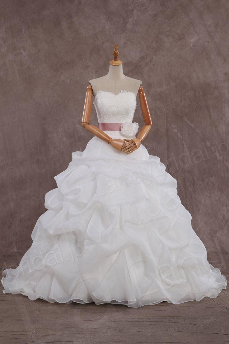 ウェディングドレス ハートネック プリンセスライン ローウェスト タッキング ピンクベルト h8pm0082