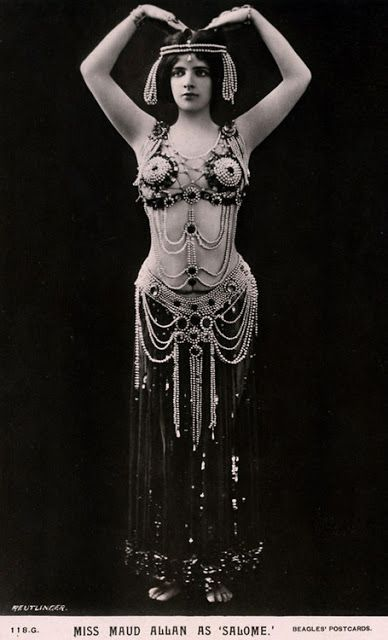 Maud Allan (1873-1956) was a famous  dancer who was born in Canada as Beulah Maude Durrant, raised in San Francisco, and who later trained in piano in Berlin. When her brother was hanged in 1898 for the murder of two women in San Francisco, the trauma affected her for the rest of her life. She changed her name to Maud Allan  and became a dancer.   In 1906 she premiered her Vision of Salome, based on Oscar Wilde's play Salome. Especially notorious was her Dance of the Seven Veils.