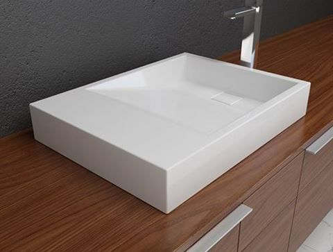 Solid Surface Contemporary White Sloping Bath Sink II in 2018 new - Vessel Sinks Bathroom