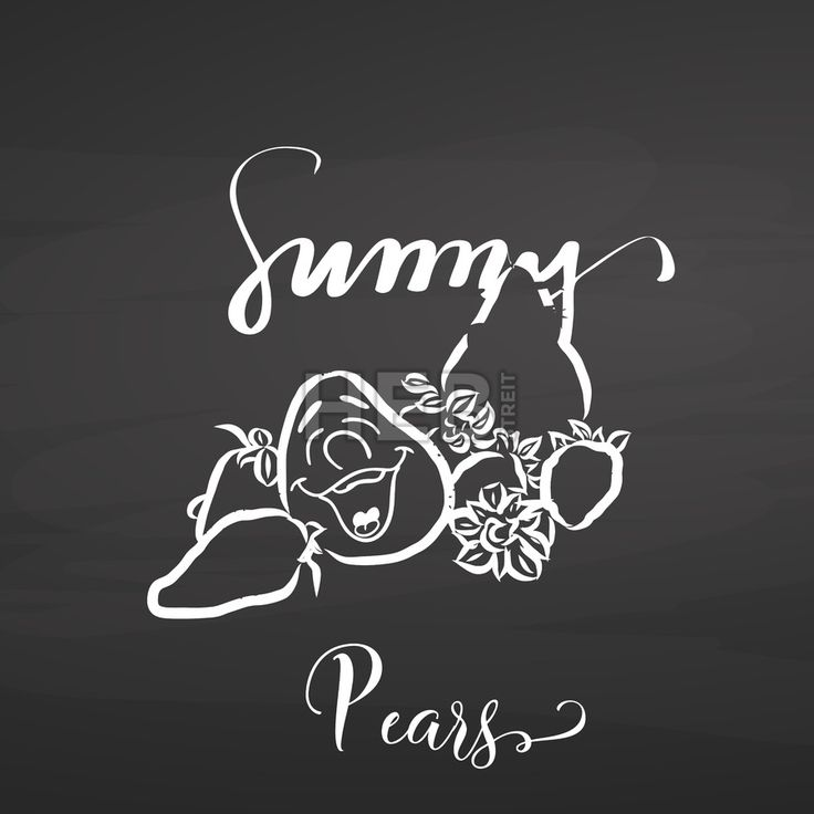 Sunny pears on chalkboard. Hand drawn healthy food sketch. Black and White Vector Drawing on Blackboard. ... ... by #Hebstreit