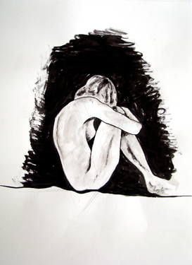 Check out this great piece of art by Leyla Özlüoğlu #art #saatchiart #drawing #ink #nude #body #woman http://www.saatchiart.com/art/Painting-darkness/653793/2259345/view