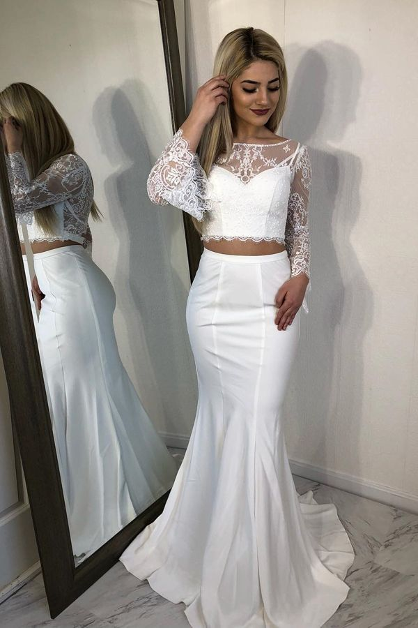Two Piece Bateau Bell Sleeves Sweep Train White Prom Dress with Lace ... 851e57c54c5b