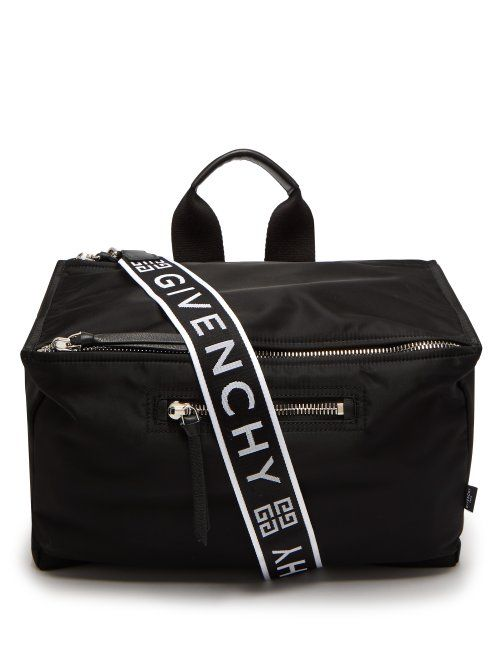 GIVENCHY GIVENCHY - LOGO PRINT MESSENGER BAG - MENS - BLACK WHITE.  givenchy   bags  shoulder bags  leather  nylon 6d9562ce93a0c