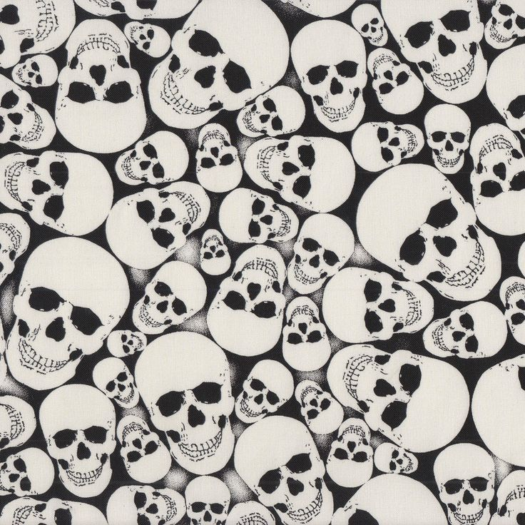 Skulls Glow in The Dark on Black Quilt Fabric - Find a Fabric - Available to purchase in Fat Quarters, Half Metre, 3/4 Metre, 1 Metre and so on.