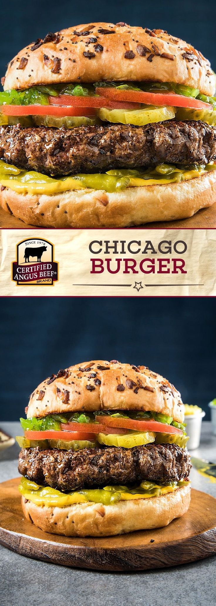 The Chicago Burger is a Certified Angus Beef®️ brand lean ground beef burger that is PACKED with flavor! The BEST ground beef is mixed with celery salt and black pepper before being pan seared or grilled. Complete each burger with pickles, tomato, neon relish, and poppy seed buns for a DELICIOUS burger recipe!