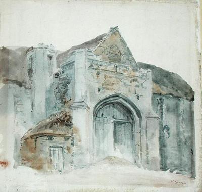 The Tithe Barn, Abbotsbury by  Thomas Girtin