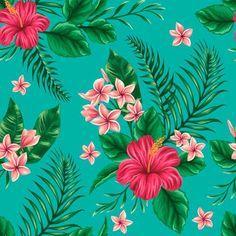 Papel de parede floral - Flores do hawaii