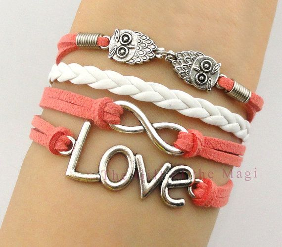 Infinity, Owl & Love Charm Bracelet-Silver, Korean Cashmere and Leather Braided Bracelet-Personalized, Friendship gift
