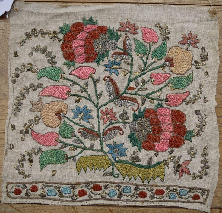 Lovely Ottoman Turkish sash end mid 19C 24 x 23 cm