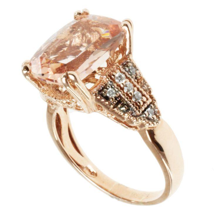 Michael Valitutti 14k Rose Gold, Morganite and Diamond Ring