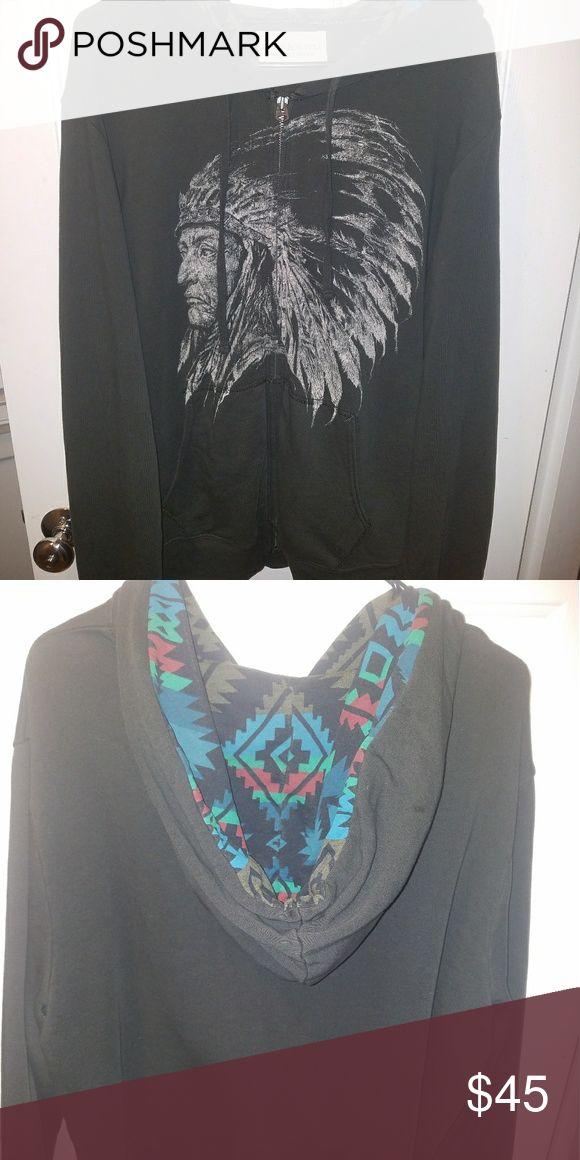Denim and Supply by Ralph Lauren Zip up hoodie Mens XXL Denim and Supply by Ralph Lauren Zip up, pockets, hoodie. Aztec print hood. Charcoal grey, blue/ grey. Excellent condition, no flaws. Denim & Supply Ralph Lauren Shirts Sweatshirts & Hoodies