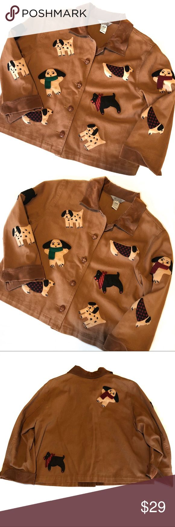 Stonebridge lightweight dog patch button up jacket Lightweight jacket, 3/4 sleeves. Light brown with cute felt puppy doggie patches. Preloved, does show some minor wear and top button chipped. All detailed in photos. Size PL (petite??), please use measurements to ensure fit. stonebridge Jackets & Coats