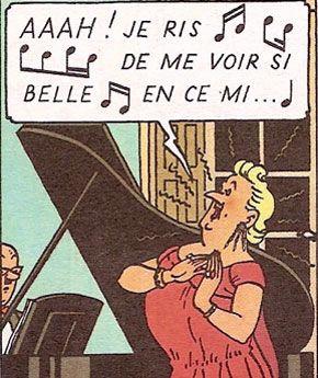 L'air des bijoux par Bianca Castafiore • the Castafiore Emerald • the Signora singing with Mr Wagner accompanying • Tintin, Herge j'aime