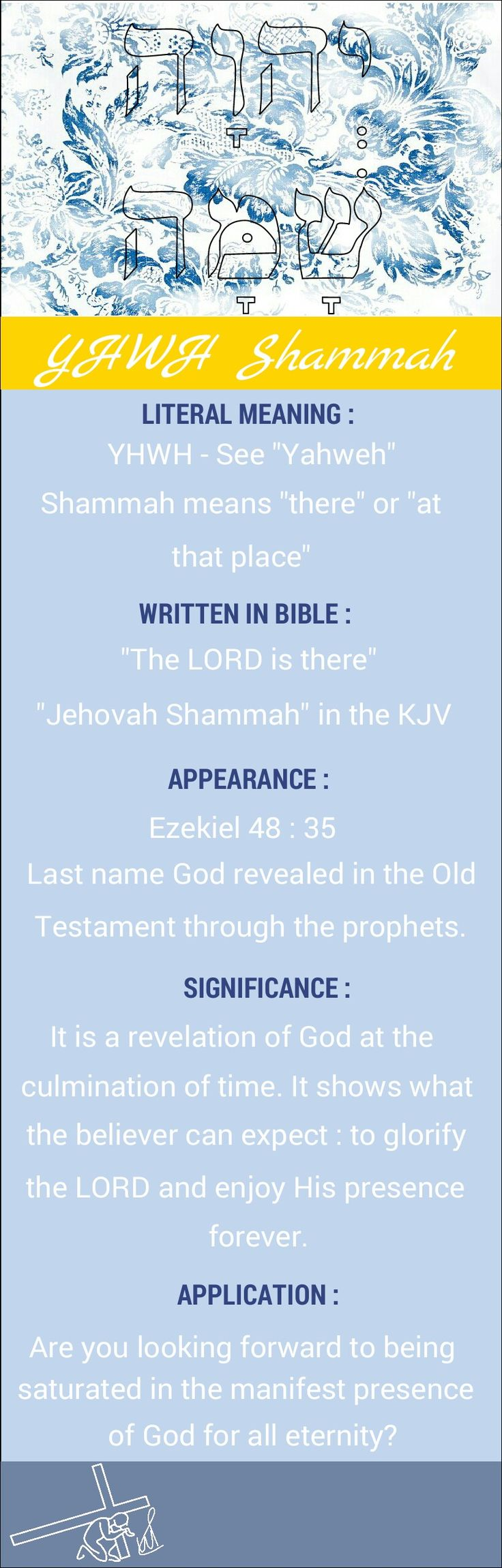 Names of God YHWH Shammah Yahweh Shammah Jehovah Shammah The LORD is there
