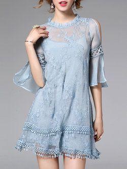 Sexy Frill Sleeve Two Piece Mini Dress
