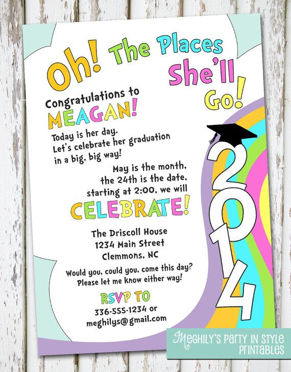 oh the places you'll go graduation invitation by meghilys on etsy, Birthday invitations