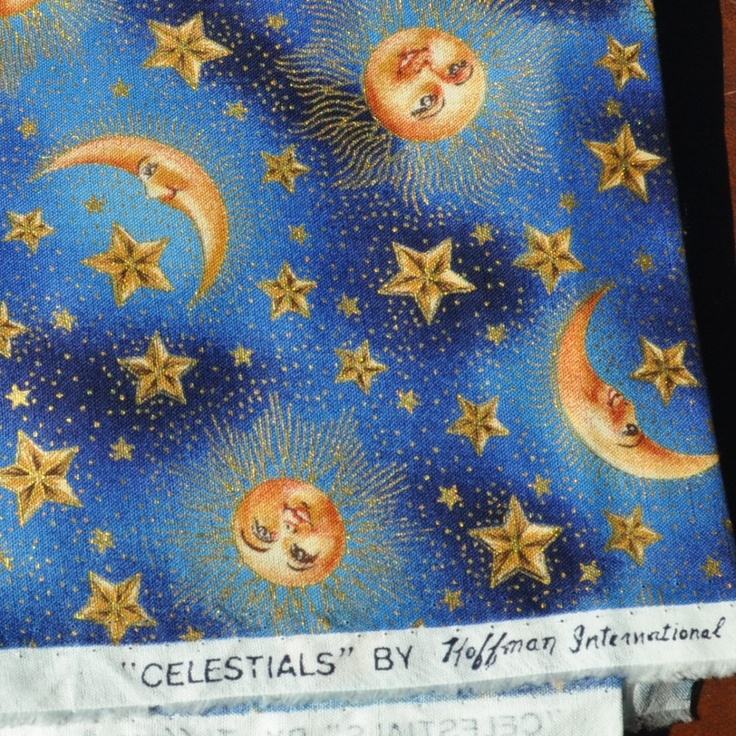 Celestial sun moons stars fabric destash lot of 3 prints for Celestial pattern fabric