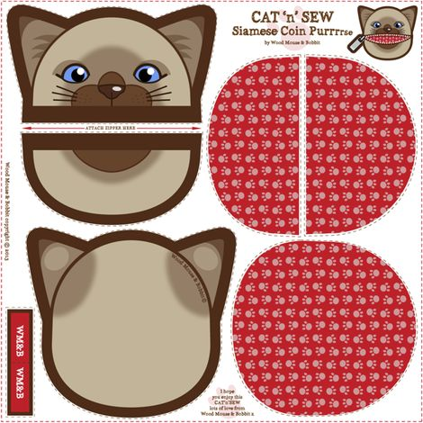 Siamese_Coin_Purrse_02 fabric by woodmouse