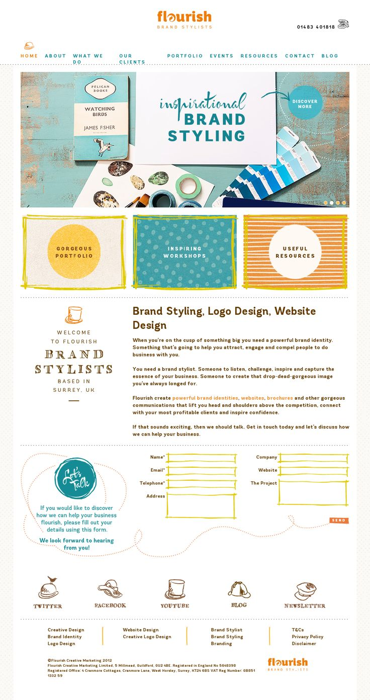 Web design inspiration: love everything except the primary navigation... breaks in multi-line links look unintentional / texture edging / bright colors mixed with browns and lots of white space / hand drawn illustrations / whimsical / fun fonts | Flourish Brand Studios