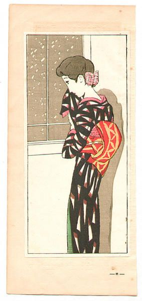 Takehisa Yumeji: Looking at Falling Snow - Japanese Art Open Database