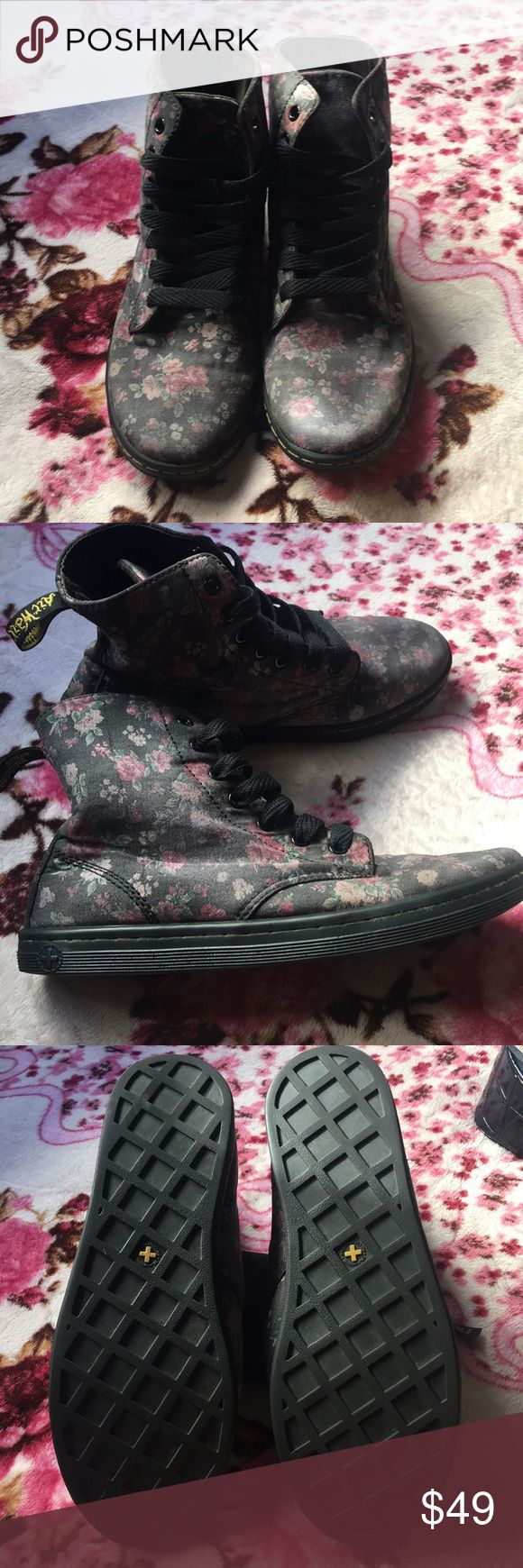 Dr. Martens Floral Boots These boots are well loved and taken care of! Before I put them up for sale I washed them and they faded a bit but besides that they're in great condition. Worn for only the summer❤️ Dr. Martens Shoes Ankle Boots & Booties