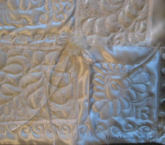 Wedding Dress Quilt detail -  beautiful quilt can be custom made from your wedding dress. Mary Manson Quilts