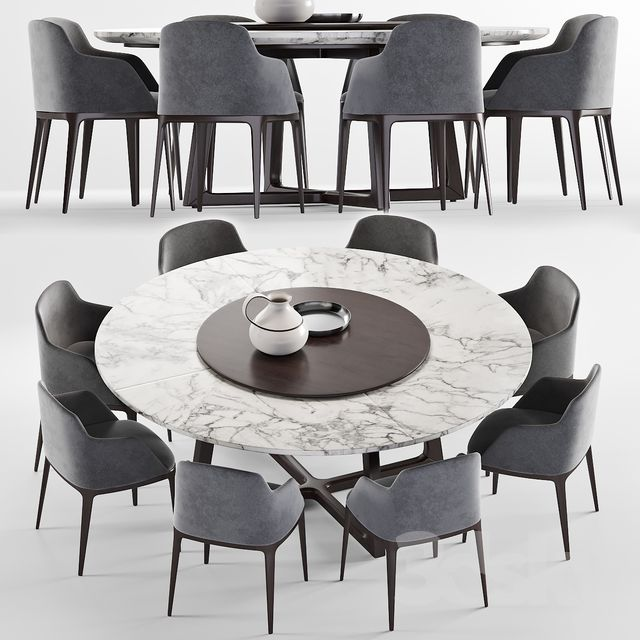 Poliform Grace Chair Concorde Round Table Round Dining Room