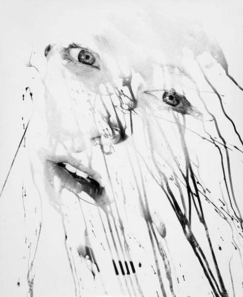 Here's a gorgeous blend of photography and painting. Timothy Pakron selectively exposes images of people's faces by painting developer onto paper in a darkroom. http://timothypakron.com/section/230613_Silver_Prints.html