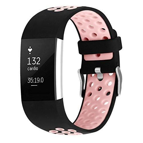 For Fitbit Charge 2 Bands Soft Silicone Adjustable Replacement Sport Strap Bands for Fitbit Charge 2 Smartwatch Fitness Wristband Pink