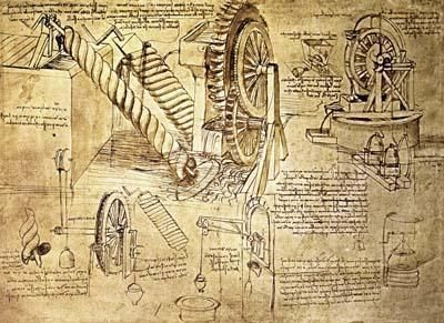 A sketch of Leonardo Da Vinci's that shows his inspiration in the Archimedes Screw and water wheels.