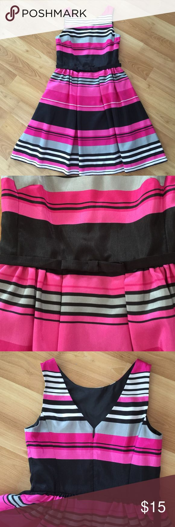 """Beautiful striped special occasion dress Super feminine fit and flare dress with bow detail at waist and v-back. 21"""" hem from waist. Bought from another posher but never able to wear, time to clean out my closet! Really a beautiful dress!!! Dresses"""