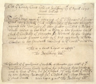 Vintage Ephemera: Original written testimony from the Salem witch trials, 1600's